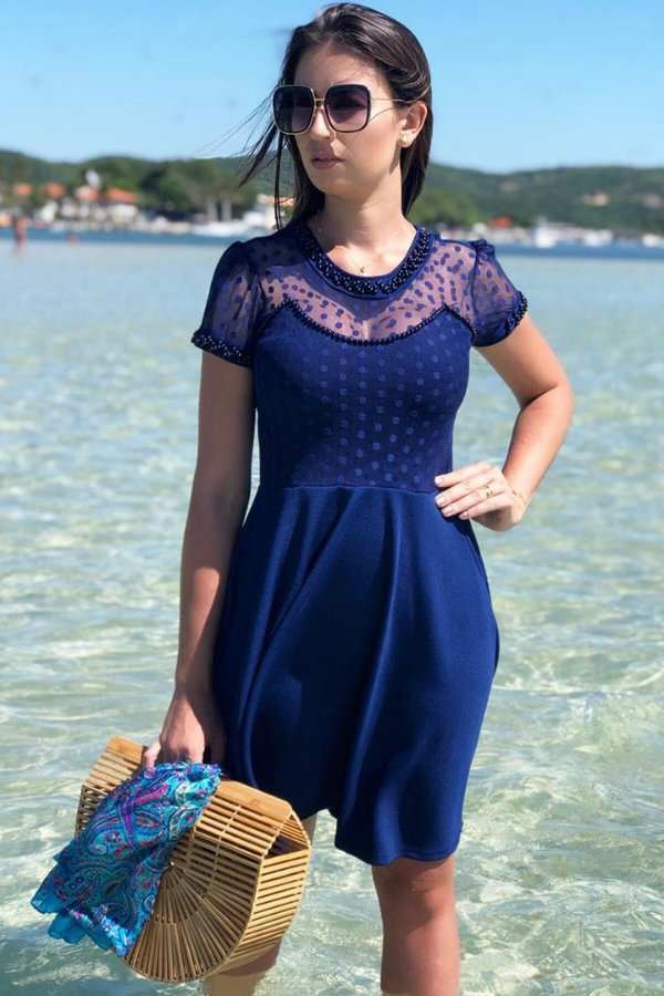 Vestido Lady Like Moda Evangelica Detalhes em Perola e Tule de Bolinhas RP