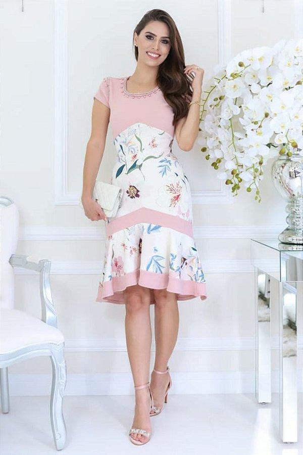 Vestido Rose Sino Moda Evangelica Detalhes em Recorte RP