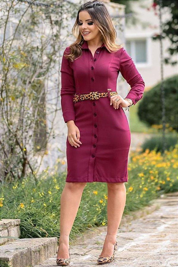 Vestido Tubinho Moda Evangelica Botoes com Abertura Frontal Boutique K 0902