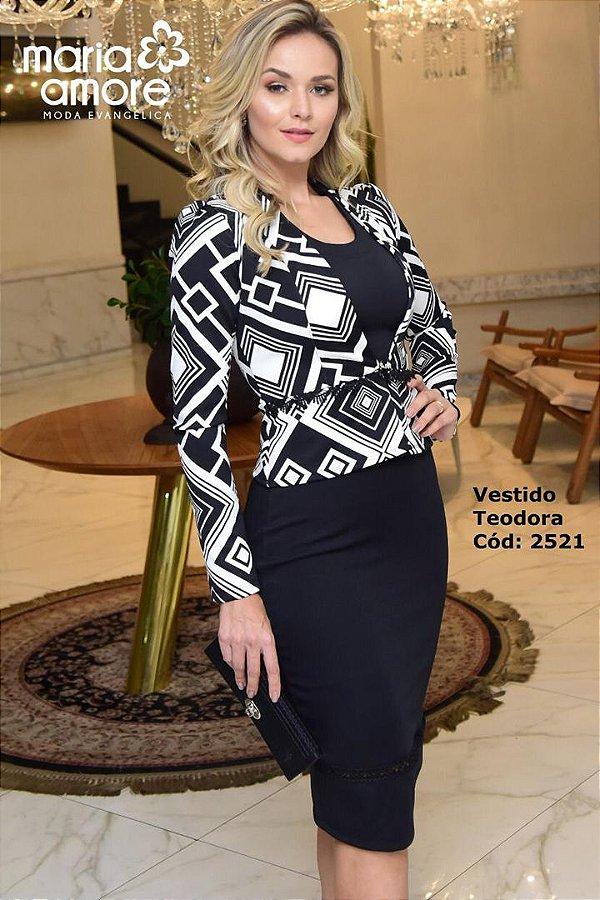 Vestido Tubinho Moda Evangelica com Blazer Maria Amore  2521