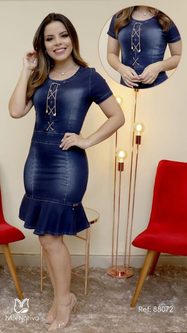 Vestido Jeans Paola Santana Moda Evangelica MN 88072