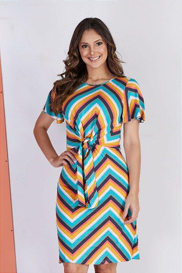 Vestido Viscolyca Moda Evangelica com Amarração na cintura Tata Martello 5014