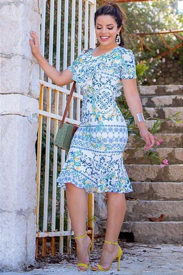 Vestido Estampado Moda Evangelica Barra Sino com Babado Boutique K 0156