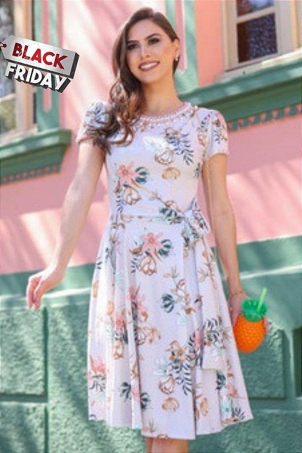 Vestido Lady Like Moda Evangelica Estampado com amarração na cintura e detalhes em Perolas RP