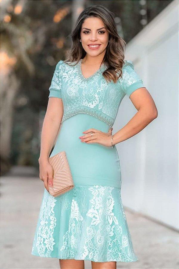 Vestido Barra Sino Moda Evangelica detalhes em Perolas e Renda RP