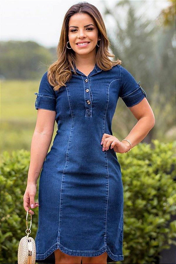 Vestido Jeans  Moda Evangelica Tubinho com detalhes em Botões  Monia 95155