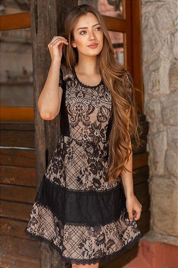 Vestido Evase Moda Evangelica em Renda com detalhes em Tule e Guipir Maria Amore 2933