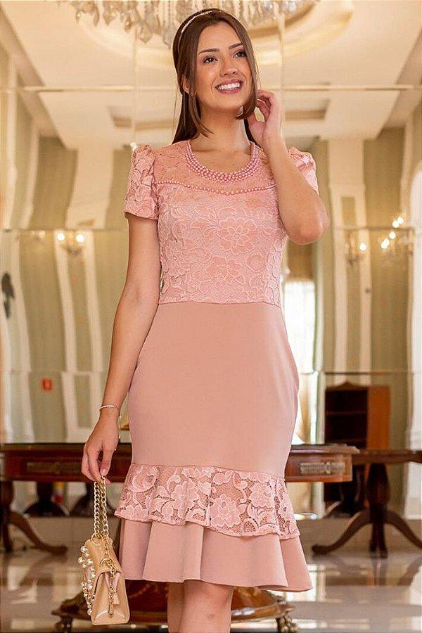 Vestido Barra Sino Moda Evangelica Rose com detalhes em Renda e Perolas Maria Amore 2963
