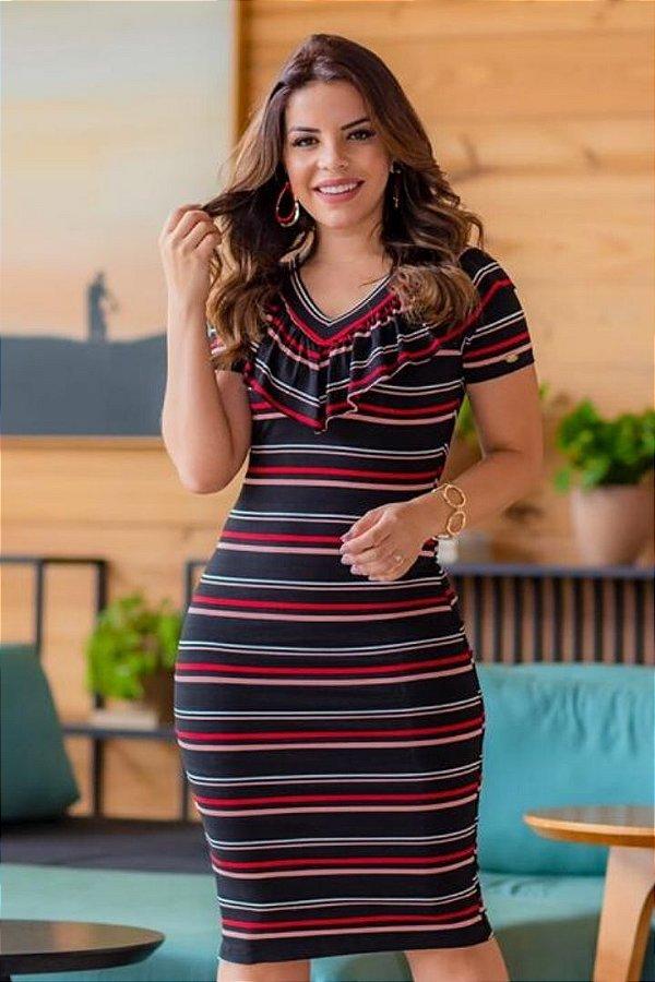Vestido Tubinho Moda Evangelica com detalhes em Rose e babado no decote Boutique K 0934