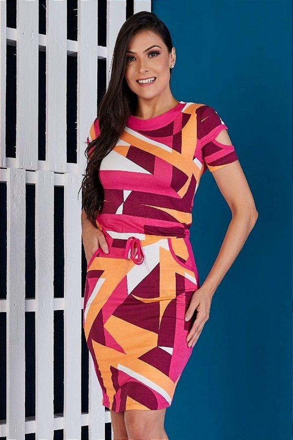 Vestido Tubinho Moda Evangelica Geometrico com detalhes em amarração na cintura Tata Martello 5146
