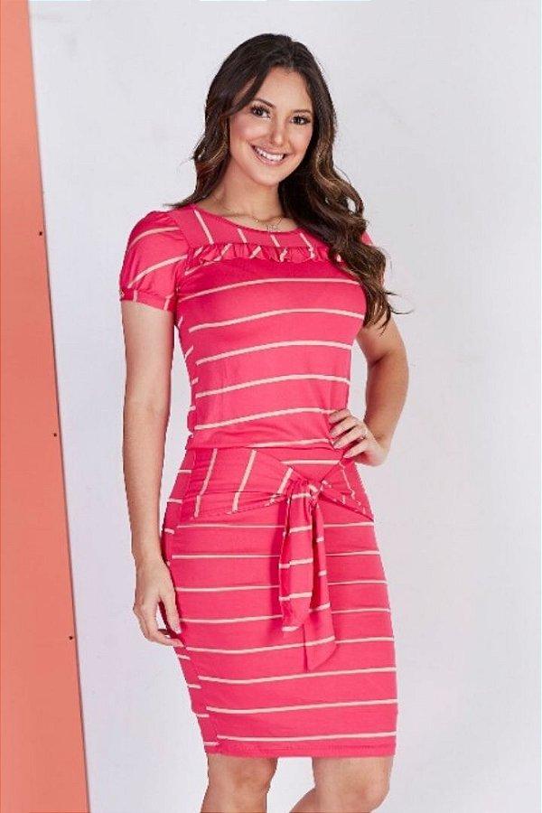Vestido Tubinho Rosa Moda Evangelica Listrado com Amarração na cintura Tata Martello 5020