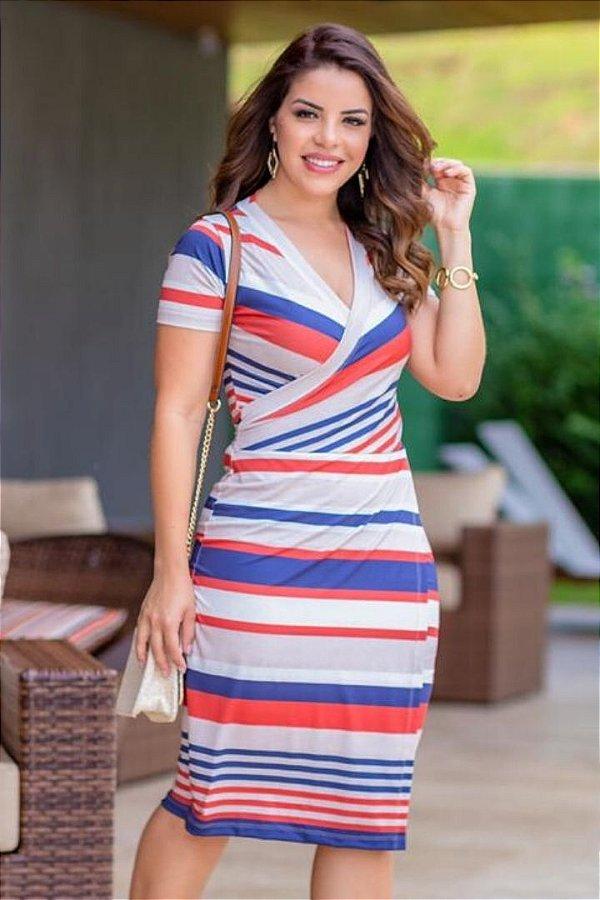 Vestido Transpassado Moda Evangelica em malha listrado com detalhes em amarração Boutique K 4749