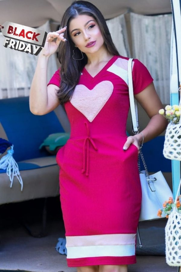Vestido Tubinho Moda Evangelica Rosa detalhes de coração RP