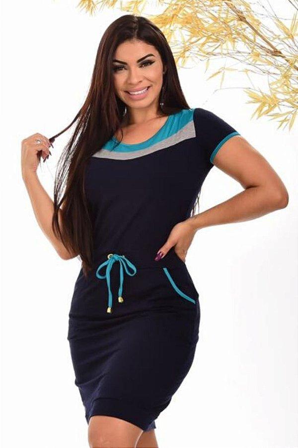 Vestido Tubinho Moda Evangelica Azul com detalhes em amarração na cintura DM