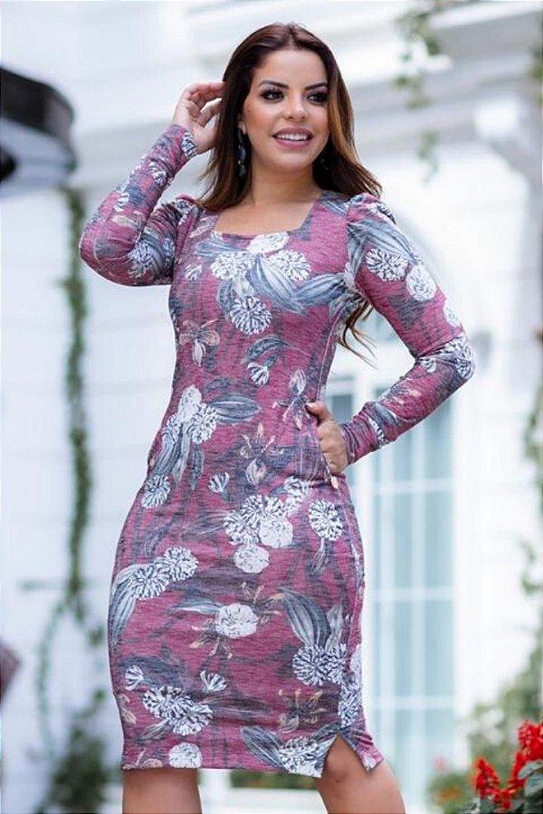 Vestido Moda Evangelica em moletinho forrado com bolso Boutique K 4839