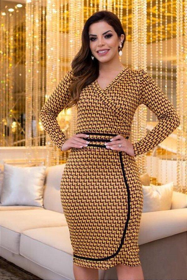Vestido Moda Evangelica em Jacquard de viscose Boutique K 4835