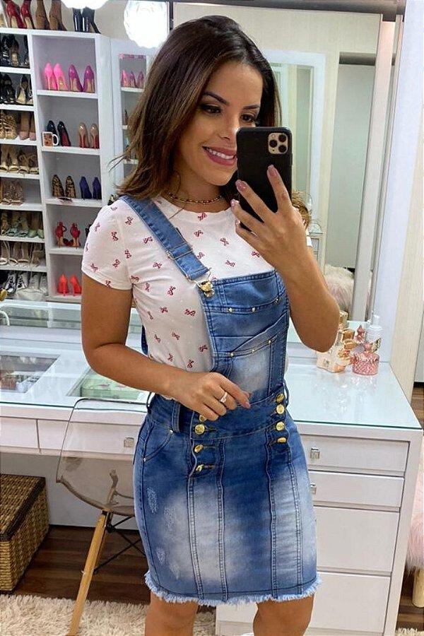 Jardineira Jeans Tubinho Moda Evangelica Clara com detalhes em Botões EJ