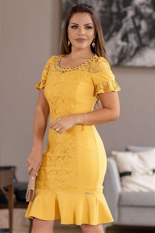 Vestido Barra Sino Moda Evangelica com detalhes em renda Monia 98156