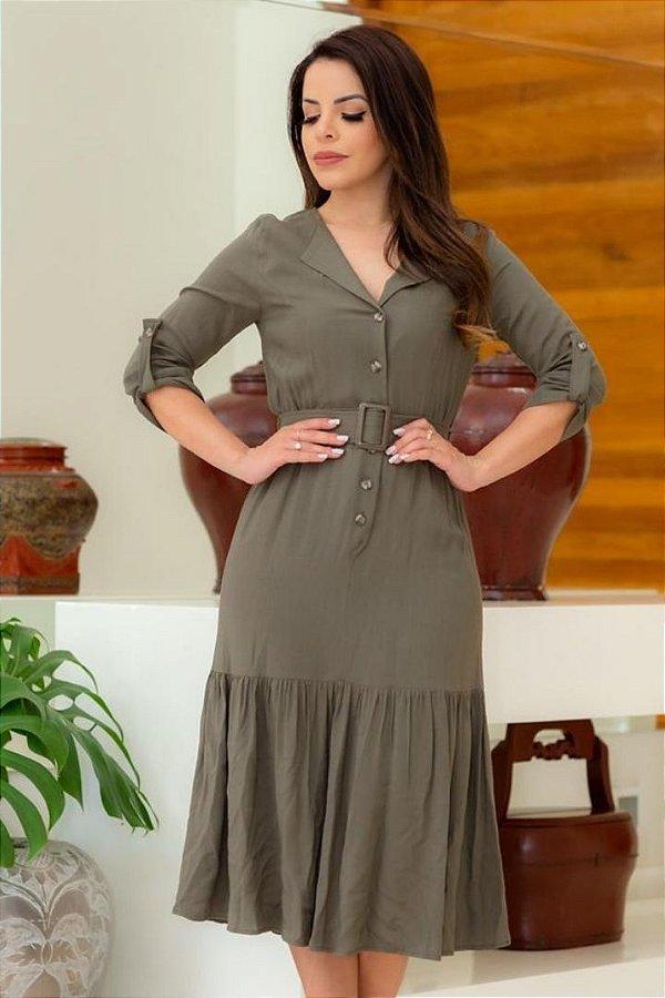 Vestido Midi Moda Evangelica com detalhes em botões e cinto AD 6097