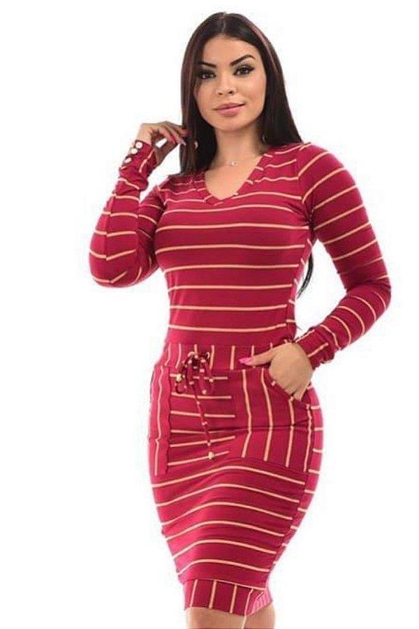 Vestido Tubinho Vermelho  Forrado Moda Evangelica com amarração na cintura DM