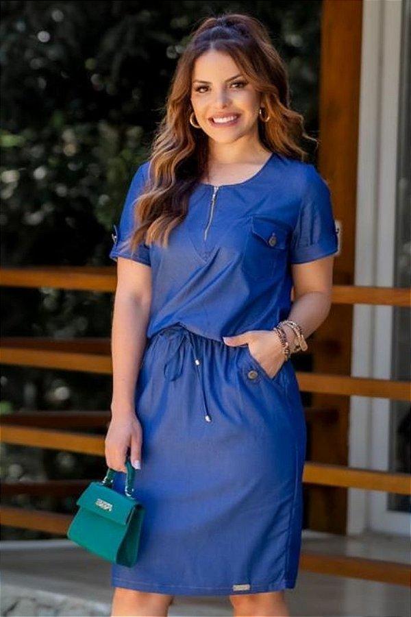 Vestido Jeans Moda Evangelica com detalhes em ziper e bolso Boutique K 0231