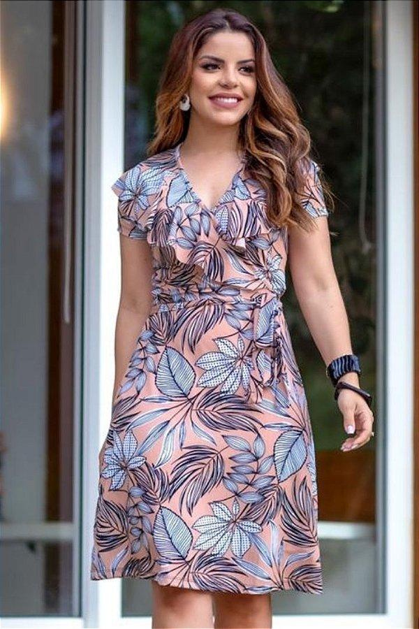 Vestido Transpassado Moda Evangelica com detalhes em babados Boutique K 4870
