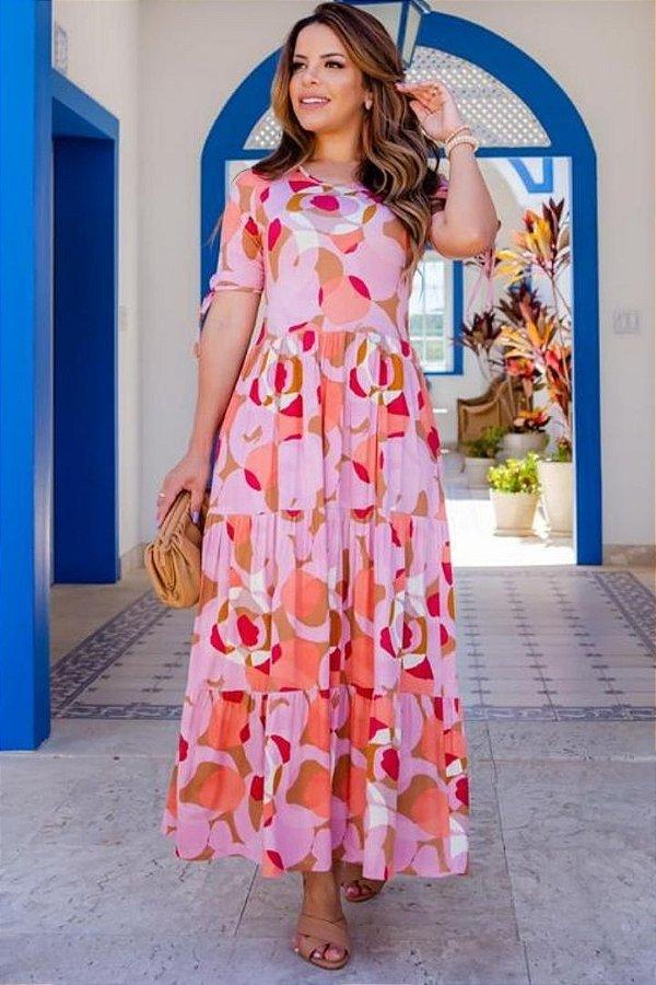 Vestido Midi Moda Evangelica estampado com detalhes na manga Boutique K 5063
