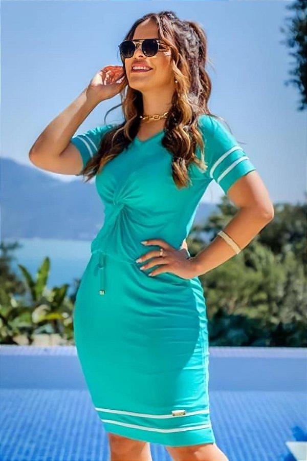 Vestido Tubinho Moda Evangelica com detalhes em nó e faixa Boutique K 0233
