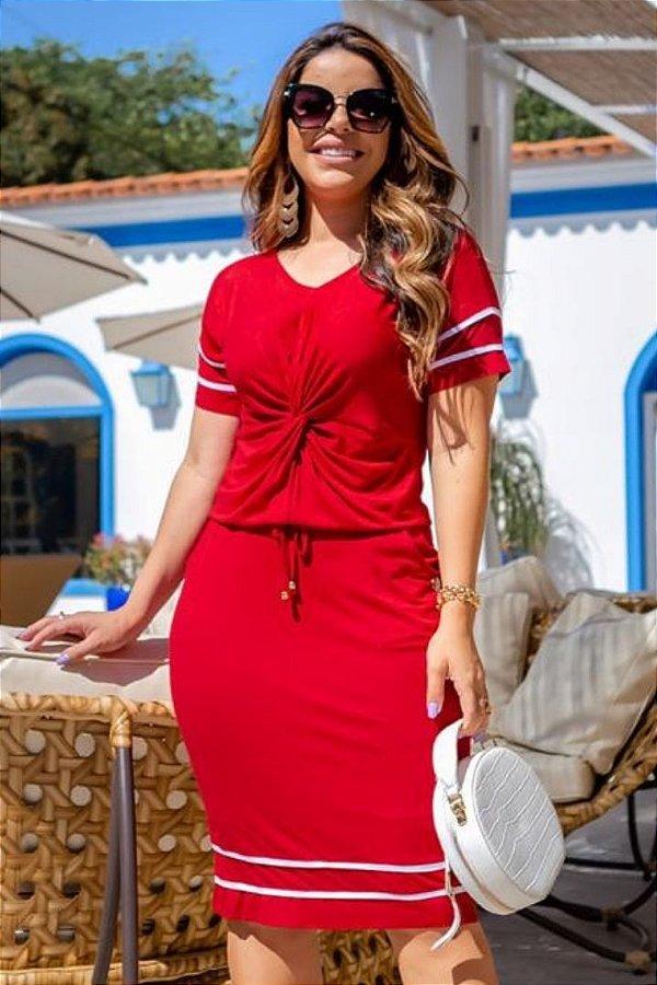 Vestido Tubinho Moda Evangelica Vermelho com detalhes em nó e faixa Boutique K 0233