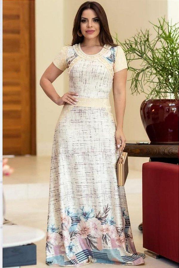 Vestido Longo Moda Evangelica estampado com detalhes em Pérolas RP