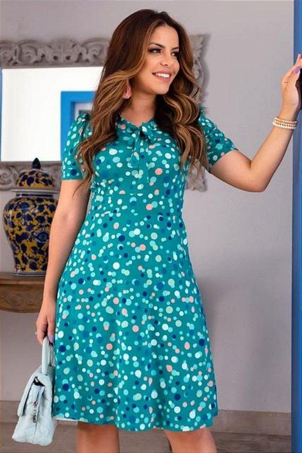 Vestido Moda Evangelica Verde com detalhes em gola laço Boutique K 4876