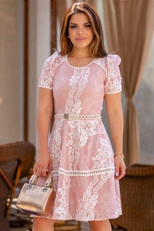 Vestido Lady Like Moda Evangelica Rose em Renda com cinto em Pérolas RP