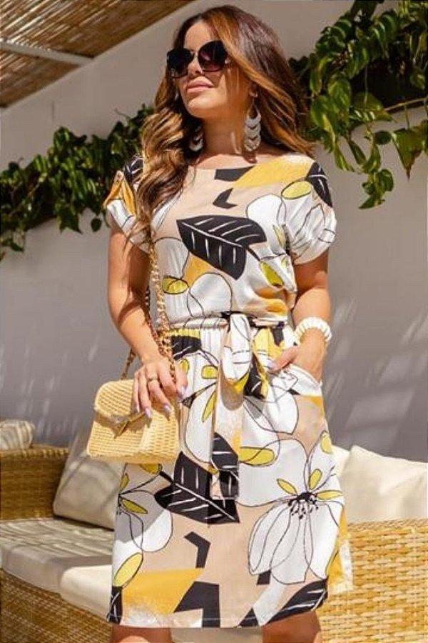 Vestido Evase Moda Evangelica Amarelo estampado em Malha Canelada Boutique K 5071