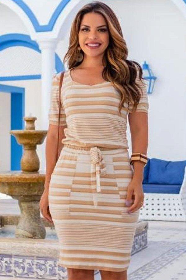 Vestido Tubinho Moda Evangelica com detalhes em bolso Boutique K 4878