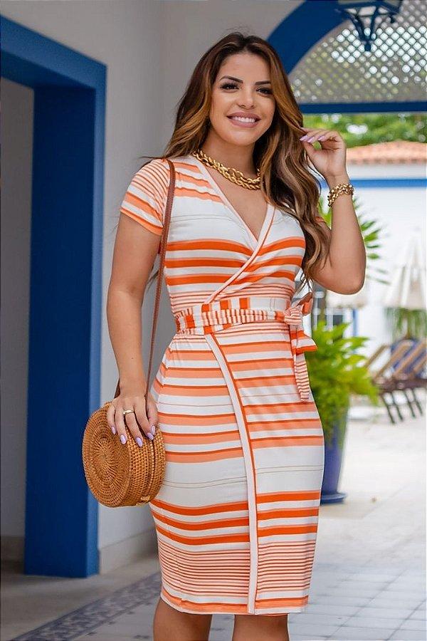 Vestido Transpassado Moda Evangelica Listrado com detalhe em amarração Boutique K 4665