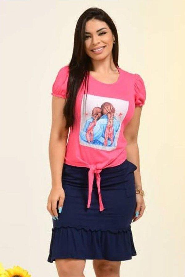 Conjunto Moda Evangelica Rosa com detalhes em bolso DM