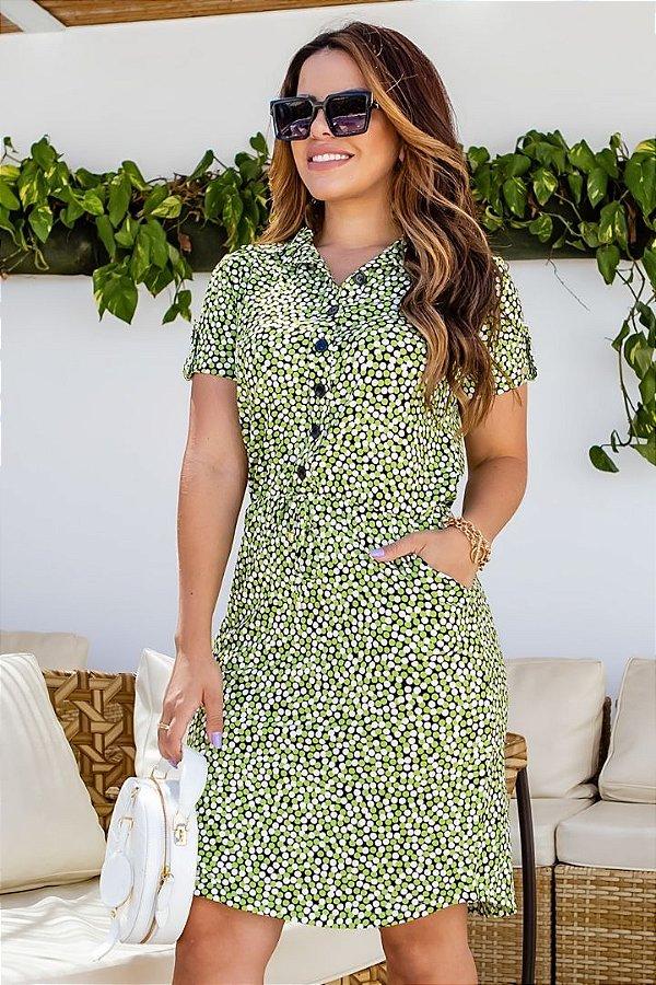 Vestido Chemise Moda Evangelica estampado com detalhes em botões Boutique K 0966