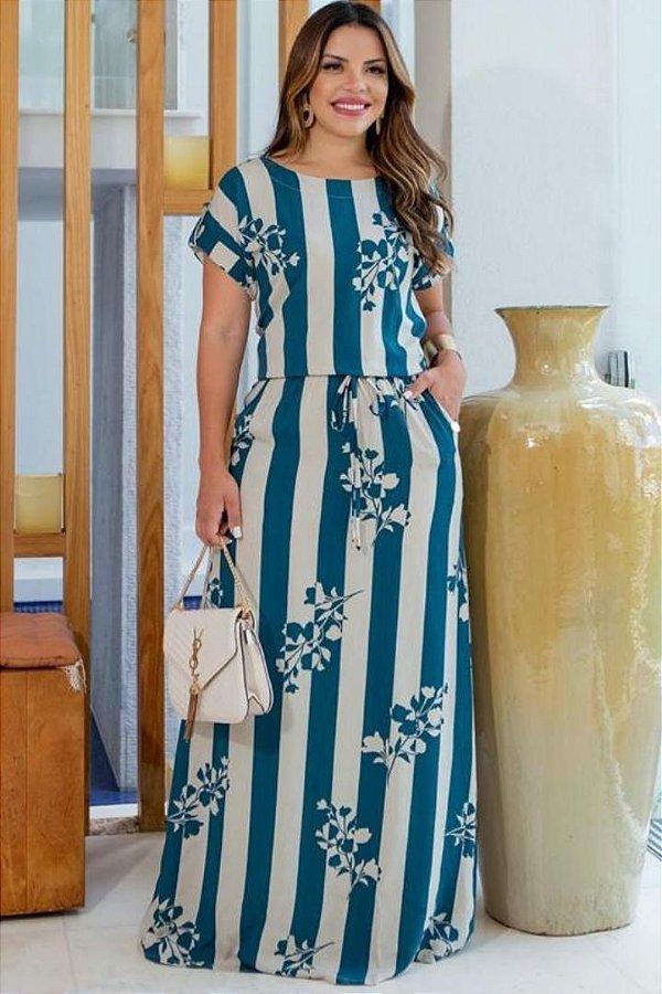 Vestido Longo Moda Evangelica em Viscose com bolso Boutique K 5073