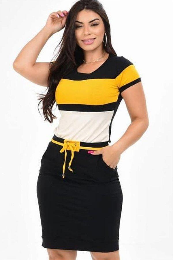 Conjunto Moda Evangelica Amarelo com amarração na cintura DM LF