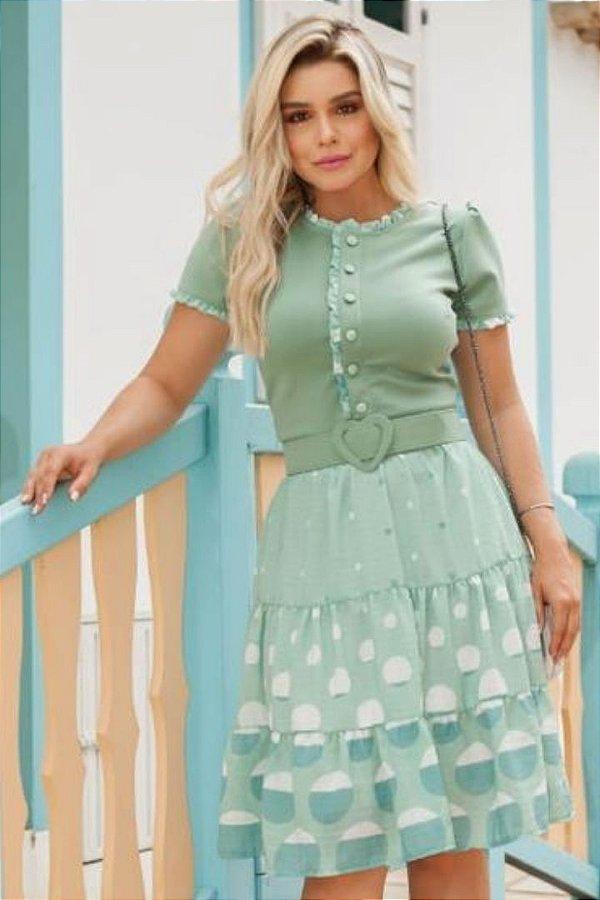 Vestido Lady Like Moda Evangelica estampado com cinto RP