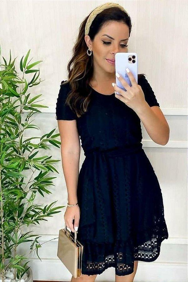 Vestido Lady Like Moda Evangelica Preto com detalhes em amarração Maria Amore 3316