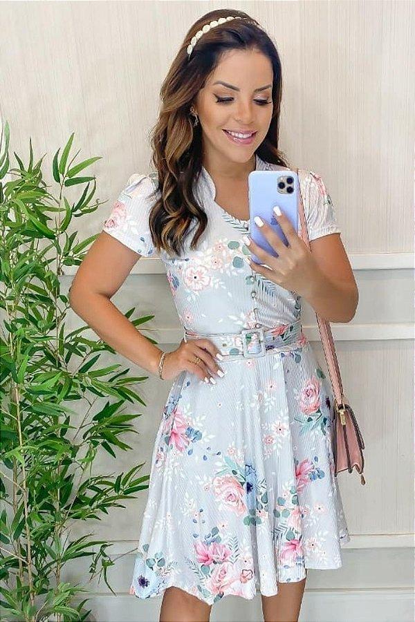Vestido Lady Like Moda Evangelica estampado em com Cinto Maria Amore 3072
