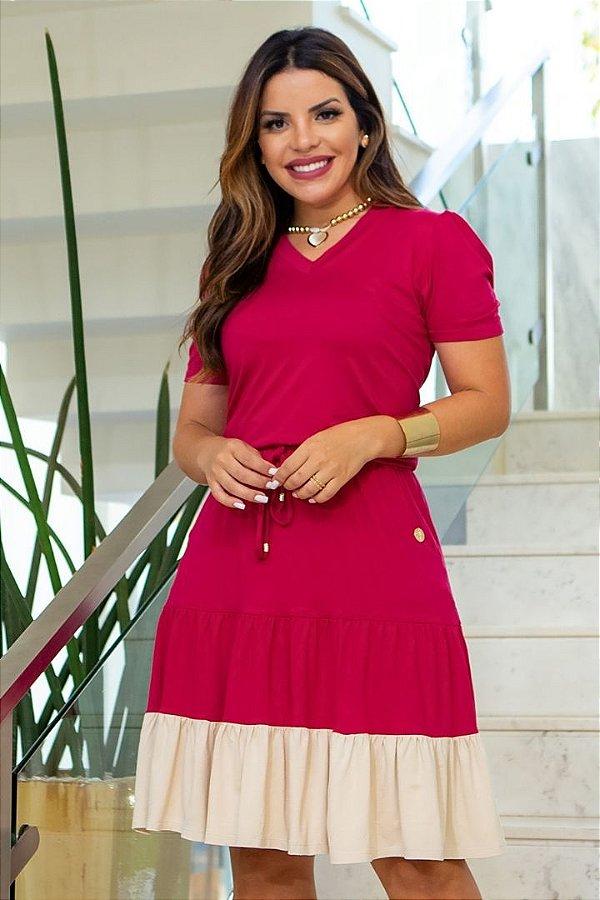 Vestido Lady Like Moda Evangelica Rosa com detalhes em amarração Boutique K 5077