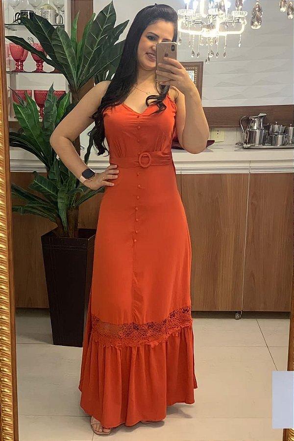 Vestido Longo Moda Evangelica Ferrugem em Viscose com Alça regulavél DM LF