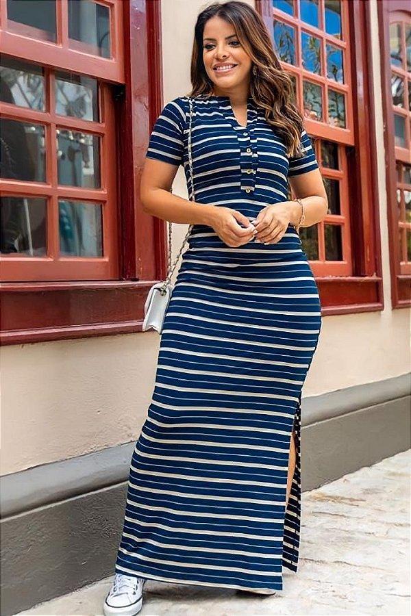 Vestido Longo Moda Evangelica Listrado com detalhes em Fenda na Lateral Boutique K