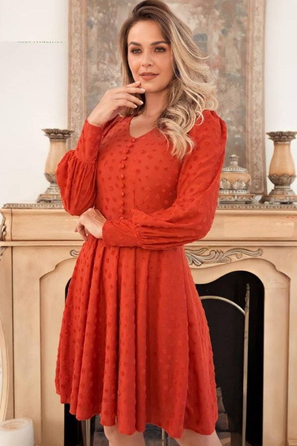 Vestido Lady Like Moda Evangelica em Póa com aplicação em botões Maria Amore 3429