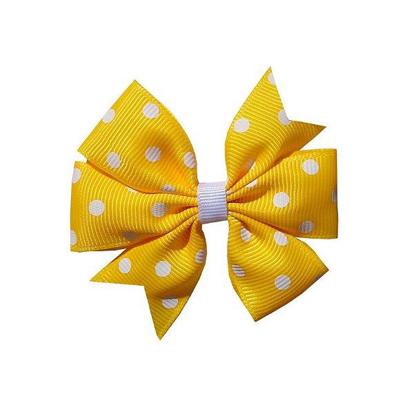Laço de Cabelo Amarelo com Poá Branco - M