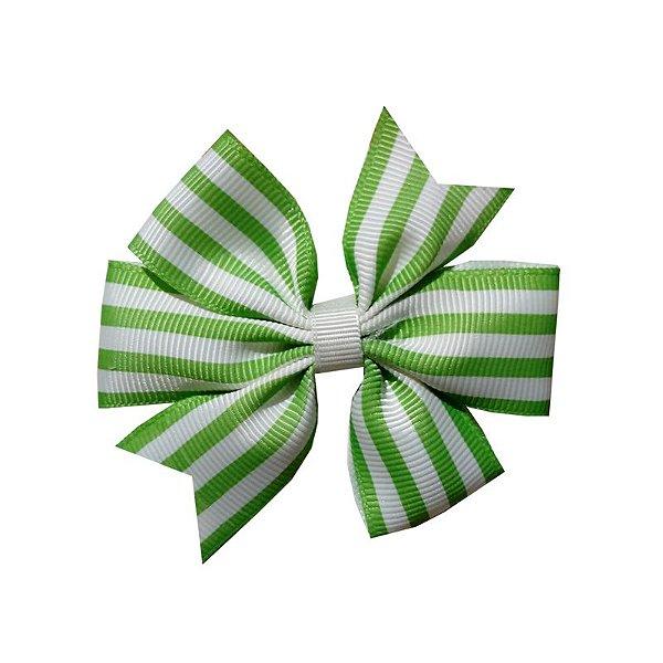 Laço de Cabelo Listrado Verde - M