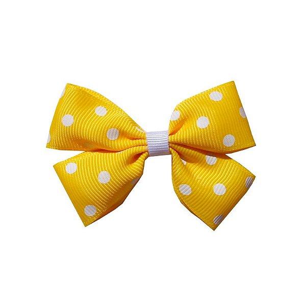 Laço Infantil Amarelo com Poá Branco - M