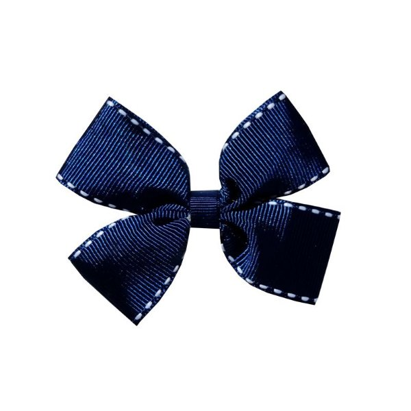 Laço Infantil Azul Marinho Pespontado - M